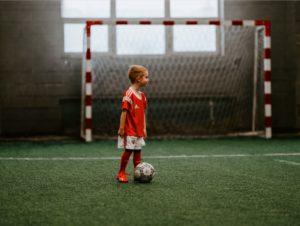 a boy playing football