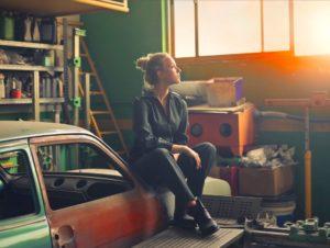 an woman in a garage